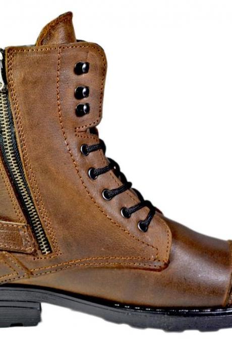 Handmade Cap Toe Lace Up Buckle Side Zipper Boot, Men's 2 Tone Brown Leather Ankle High Boot