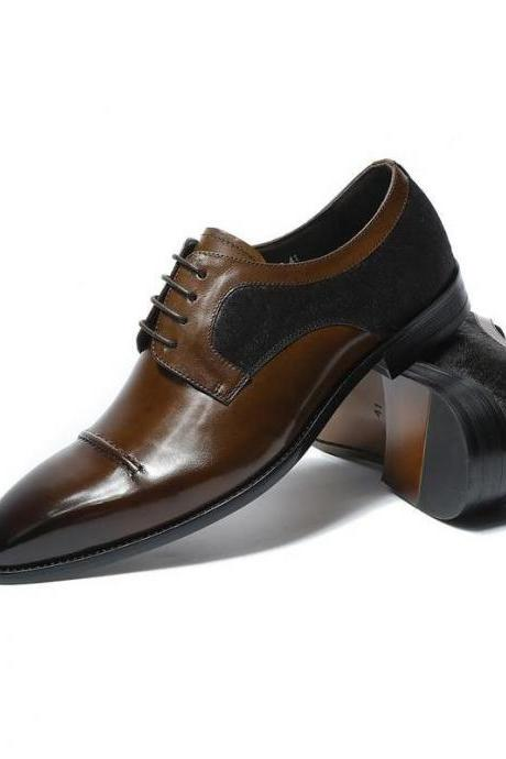 Handmade Brown Black Color Suede Shoes, Men's Lace Up Cap Toe Formal Shoes