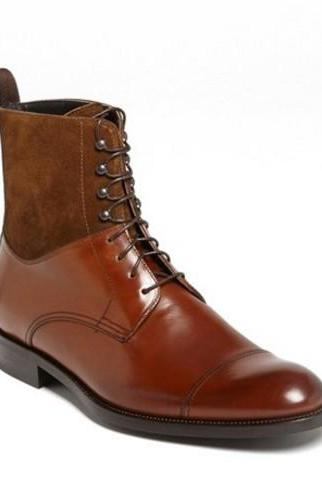 Handmade Cap Toe Lace Up Boot, Men's Brown Suede Leather Ankle High Boot