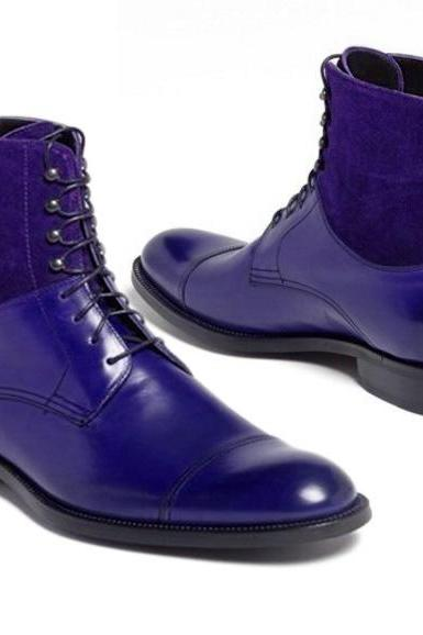 Handmade Cap Toe Lace Up Boot, Men's Blue Suede Leather Ankle High Boot