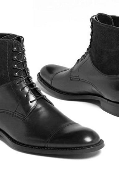 Handmade Cap Toe Lace Up Boot, Men's Black Suede Leather Ankle High Boot