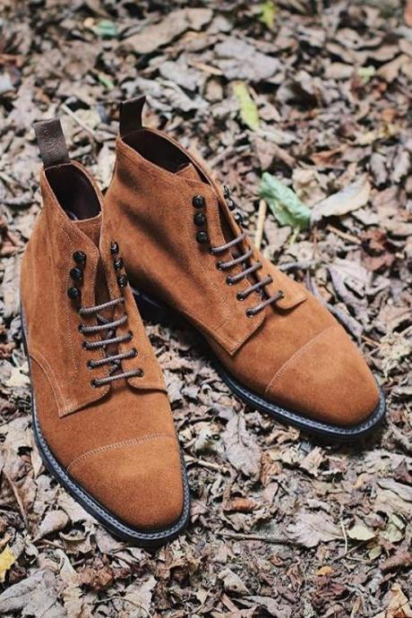 Handmade Cap Toe Lace Up Boot, Men's Light Brown Suede Ankle High Boot