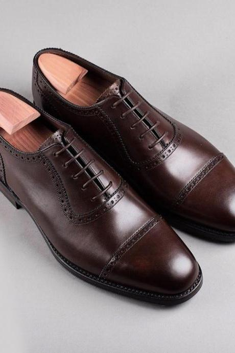 Handmade Dark Brown Color Leather Shoes, Men's Lace Up Cap Toe Formal Shoes