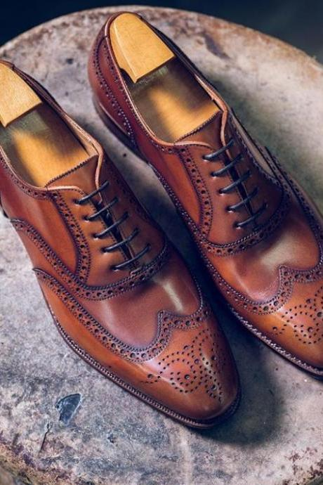 Handmade Brown Leather Brogue Shoes, Men's Lace Up Wing Tip Formal Shoes