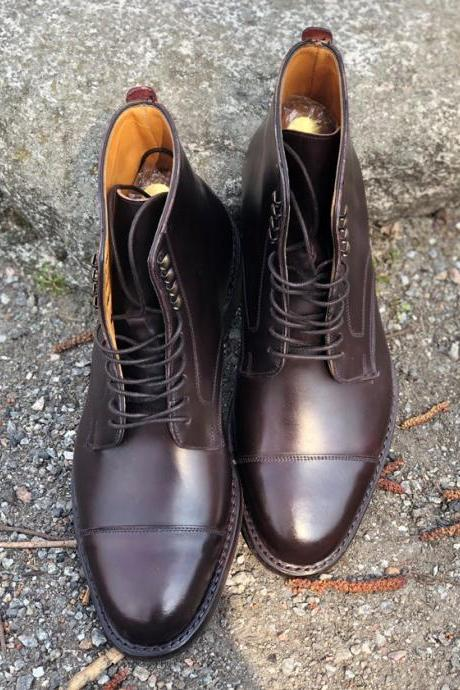 Handmade Cap Toe Lace Up Boot, Men's Brown Leather Ankle High Boot