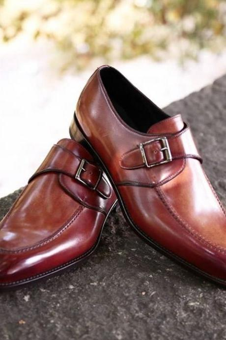 Handmade Brown Color Leather Fashion Shoes, Men's Monk Strap Split Toe Formal Shoes