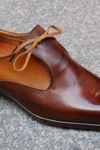 Handmade 2 Tone Brown Leather Shoes, Men's Tussles Formal Designing Shoes