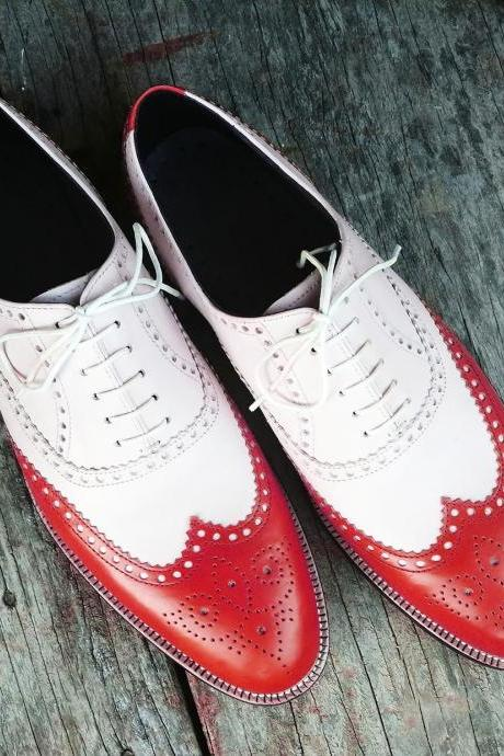 Handmade 2 Tone Red White Leather Shoes, Men's Lace Up Wing Tip Designing Shoes