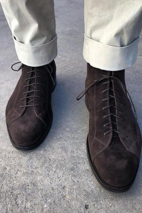 Handmade Dark Brown Suede Shoes, Men's Lace Up Designing Shoes