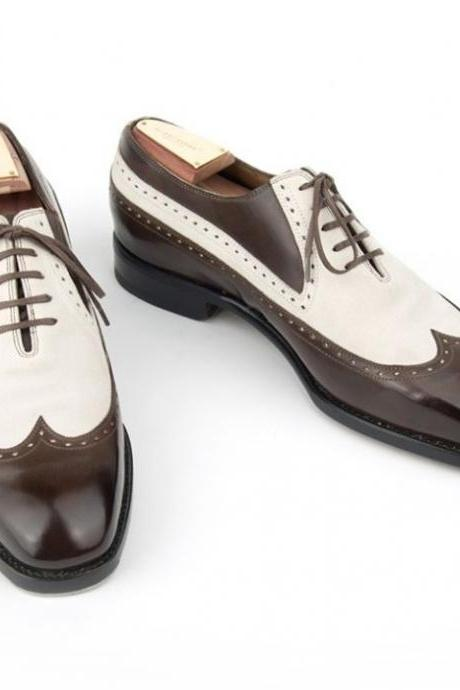 Handmade Brown White Leather Shoes, Men's Lace Up Wing Tip Designing Shoes