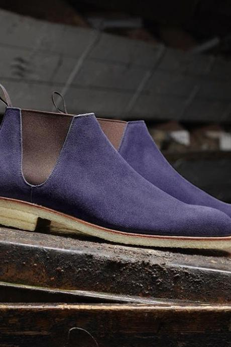 Handmade Suede Chelsea Boot, Men's Blue Color Half Ankle Boot
