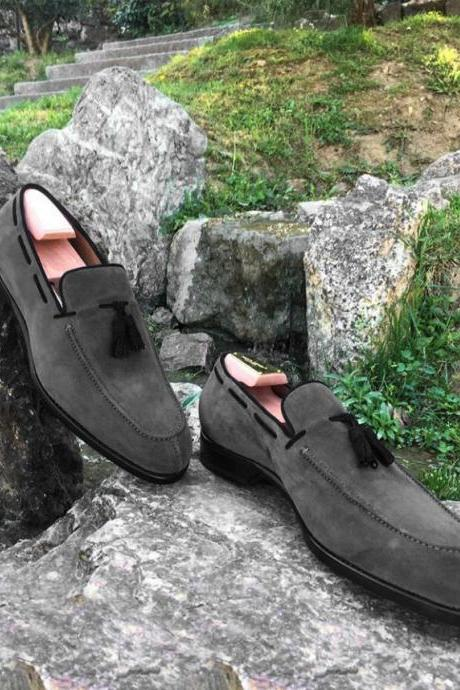 Handmade Gray Suede Loafer Shoes, Men's Split Toe Tussles Slip On Shoes