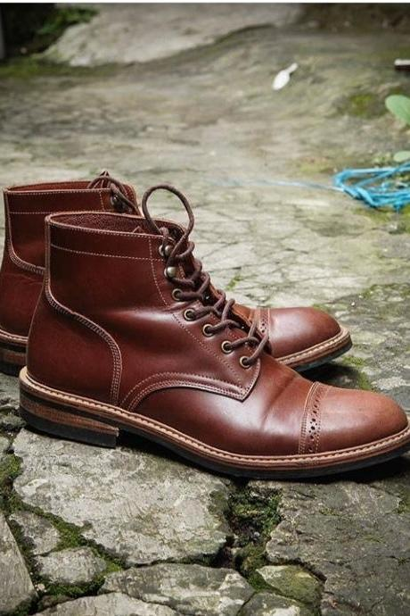 Handmade Leather Ankle High Boot, Men's Brown Color Cap Toe Lace Up Boot