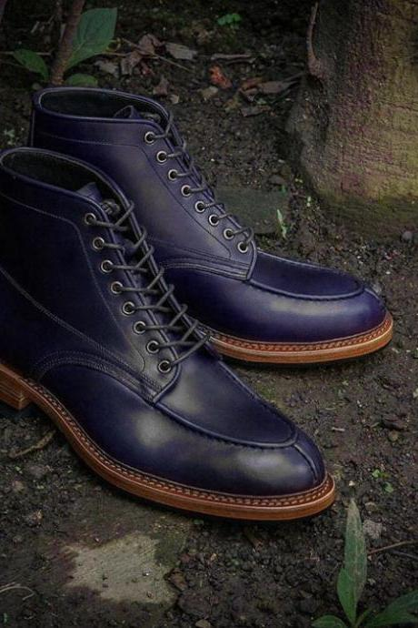 Handmade Leather Ankle High Boot, Men's Purple Color Split Toe Lace Up Boot