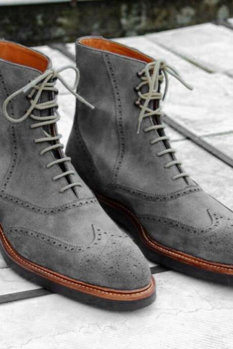 Handmade Suede Ankle High Boot, Men's Gray Wing Tip Brogue Lace Up Boot