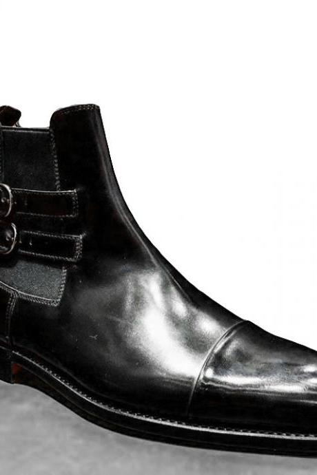 Handmade Leather Chelsea Buckle Boot, Men's Black Color Cap Toe Boot