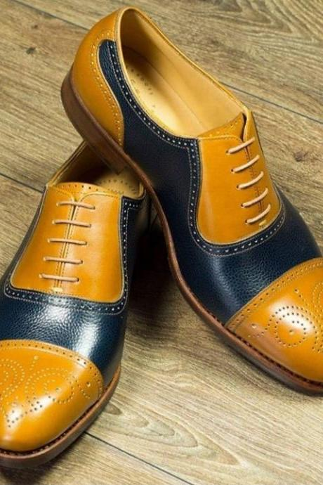 Handmade Cap Toe Lace Up Type Tan Navy Blue Leather Brogue Shoes Men's