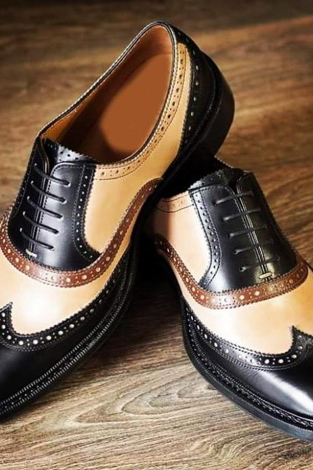 Handmade Wing Tip Lace Up Type Beige Black Leather Dress Shoes Men's