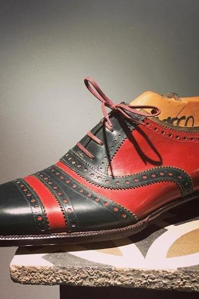 Handmade Cap Toe Lace Up Type Red Black Leather Stylish Shoes Men's