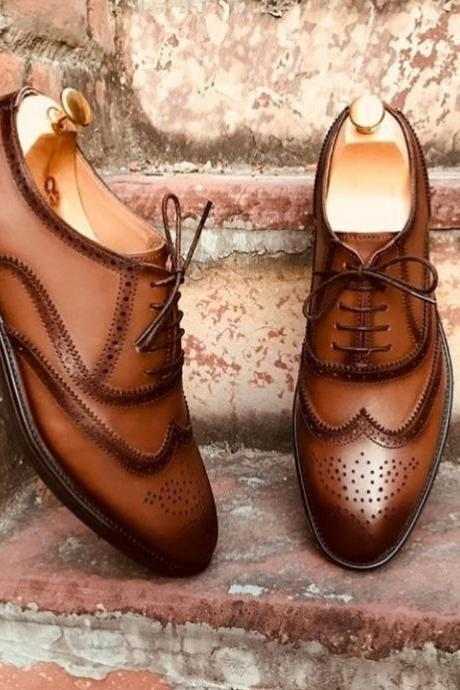 Handmade Wing Tip Lace Up Type Brown Brogue Leather Stylish Shoes Men's