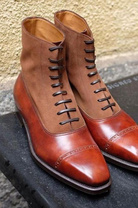 Handmade Leather Suede Cap Toe Lace Up Tan Color Ankle High Boot