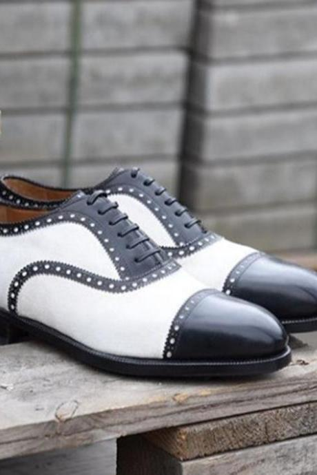 Handmade Cap Toe Lace Up Type Black White Leather Stylish Shoes Men's