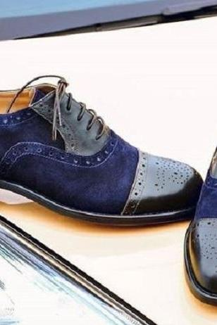 Handmade Men's Leather Suede Shoes, Cap Toe Brogue Lace Up Navy Blue Black Shoes
