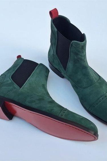 HANDMADE MEN'S GREEN SUEDE CHELSEA BOOTS, ANKLE HIGH MEN'S CAP TOE BOOT
