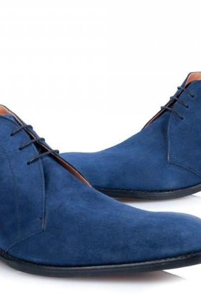 HANDMADE MEN'S BLUE SUEDE CHUKKA BOOTS, HALF ANKLE MEN'S LACE UP BOOT