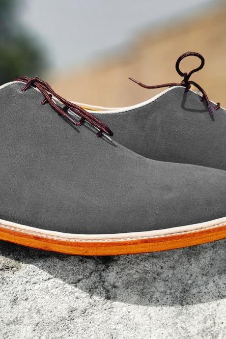 Handmade New Gray Color Suede Shoes, Men's Lace Up Derby Formal Shoes