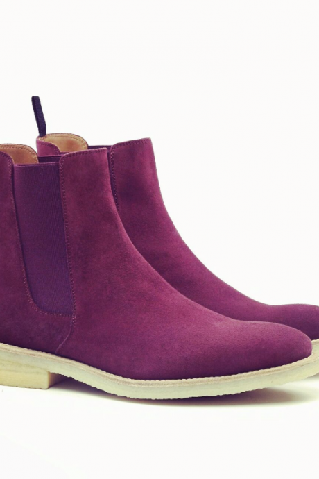 HANDMADE MEN'S PINK COLOR SUEDE BOOTS, ANKLE HIGH MEN'S CHELSEA BOOT