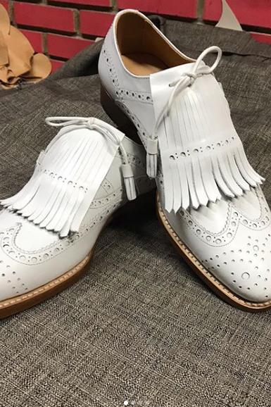 Handmade New White Leather Fringe Shoes, Men's Stylish Wing Tip Brogue Formal Shoes