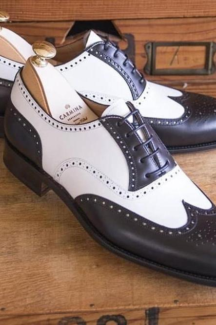 Handmade New White Brown Color Leather Shoes, Men's Lace Up Wing Tip Brogue Formal Shoes