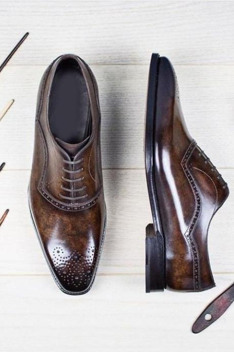 Handmade Brown Color Leather Stylish Shoes, Men's Lace Up Brogue Designing Shoes
