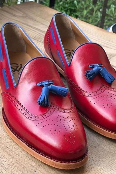 Handmade Burgundy Color Leather Tussles Shoes, Men's Wing Tip Brogue Slip On Loafers Shoes