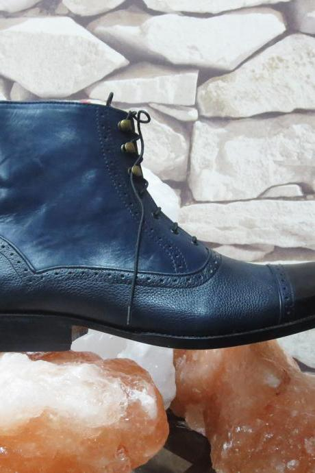 Handmade Black Leather & Denim Boots Mens Shoes Dress Fashion boots Designer Boot