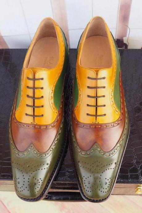 Handmade Multi Color Leather Stylish Shoes, Men's Lace Up Wing Tip Brogue Designing Shoes