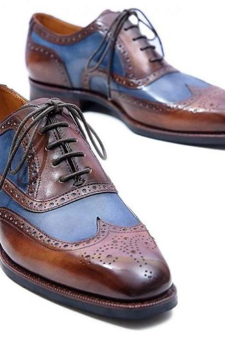 Handmade Brown Blue Leather Stylish Shoes, Men's Lace Up Wing Tip Brogue Designing Shoes