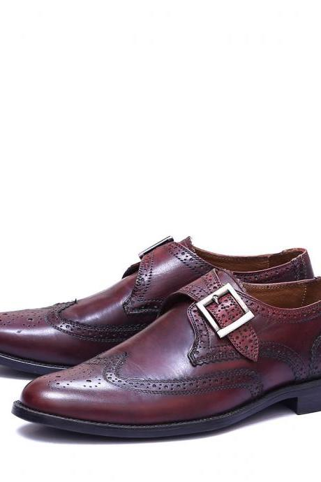 Handmade Burgundy Leather Stylish Shoes, Men's Monk Strap Wing Tip Brogue Designing Shoes