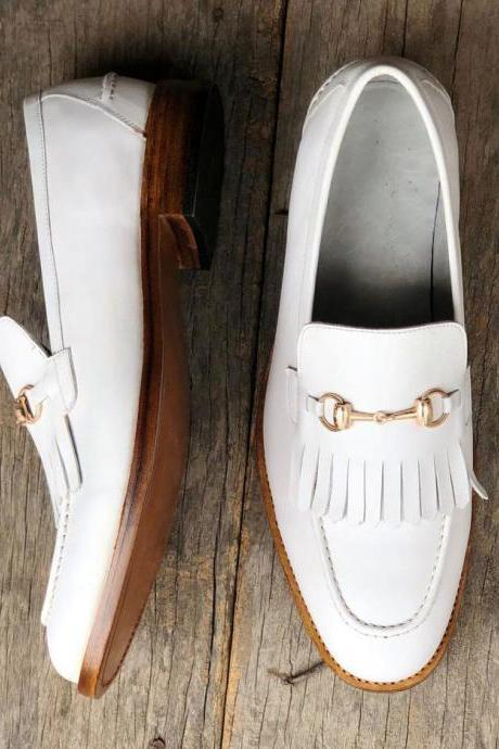 Handmade White Moccasin Whole Cut Shoes, Men's Slip On Loafers Fringe Leather Shoes