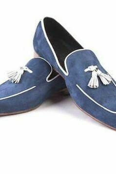 Handmade Blue Moccasin Shoes, Men's Slip On Loafers Formal Dress Suede Shoes