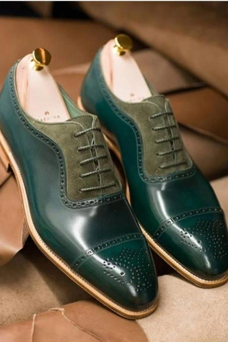 Handmade Green Suede Leather Stylish Shoes, Men's Lace Up Cap Toe Brogue Designing Shoes