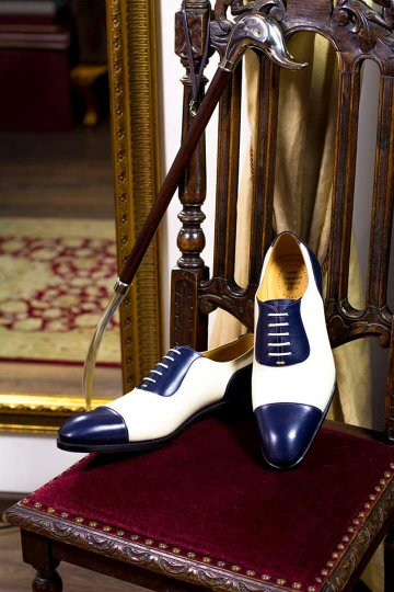 Handmade Blue White Leather Stylish Shoes, Men's Cap Toe Lace Up Shoes