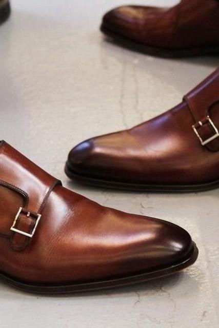 Handmade Brown Leather Shoes, Men's Double Monk Strap Designing Shoes