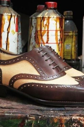 Handmade Brown Beige Leather Casual Shoes, Men's Lace Up Wing Tip Brogue Shoes