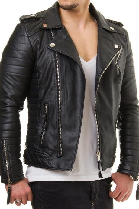 Men Motorcycle Genuine Lambskin Leather Jacket Black Slim fit Biker jacket