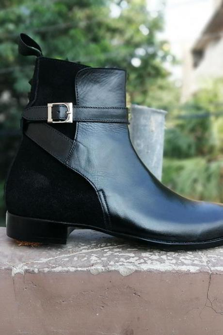 Men's Handmade Black Jodhpurs Ankle High Black Leather Boots