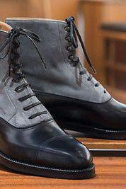 Handmade Gray Black Color Cap Toe Lace Up Boot Men's Dress Ankle High Leather Suede Stylish Boot