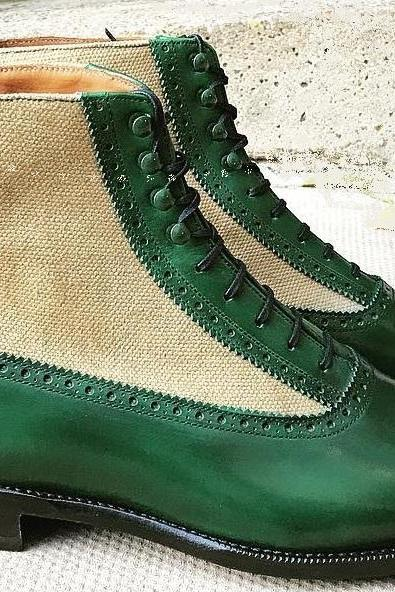Handmade Green Beige Color Cap Toe Lace Up Boot Men's Dress Ankle High Leather Tweed Stylish Boot