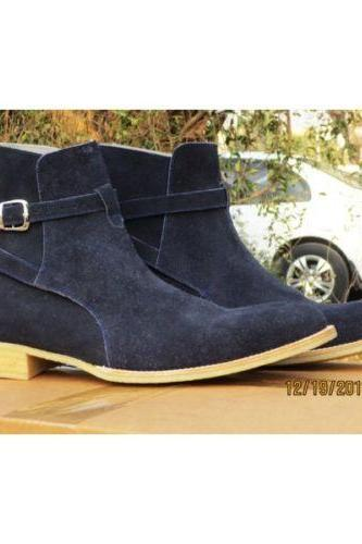 Handmade Navy Blue Color Jodhpurs Buckle Boot Men's Dress Ankle High Suede Stylish Boot